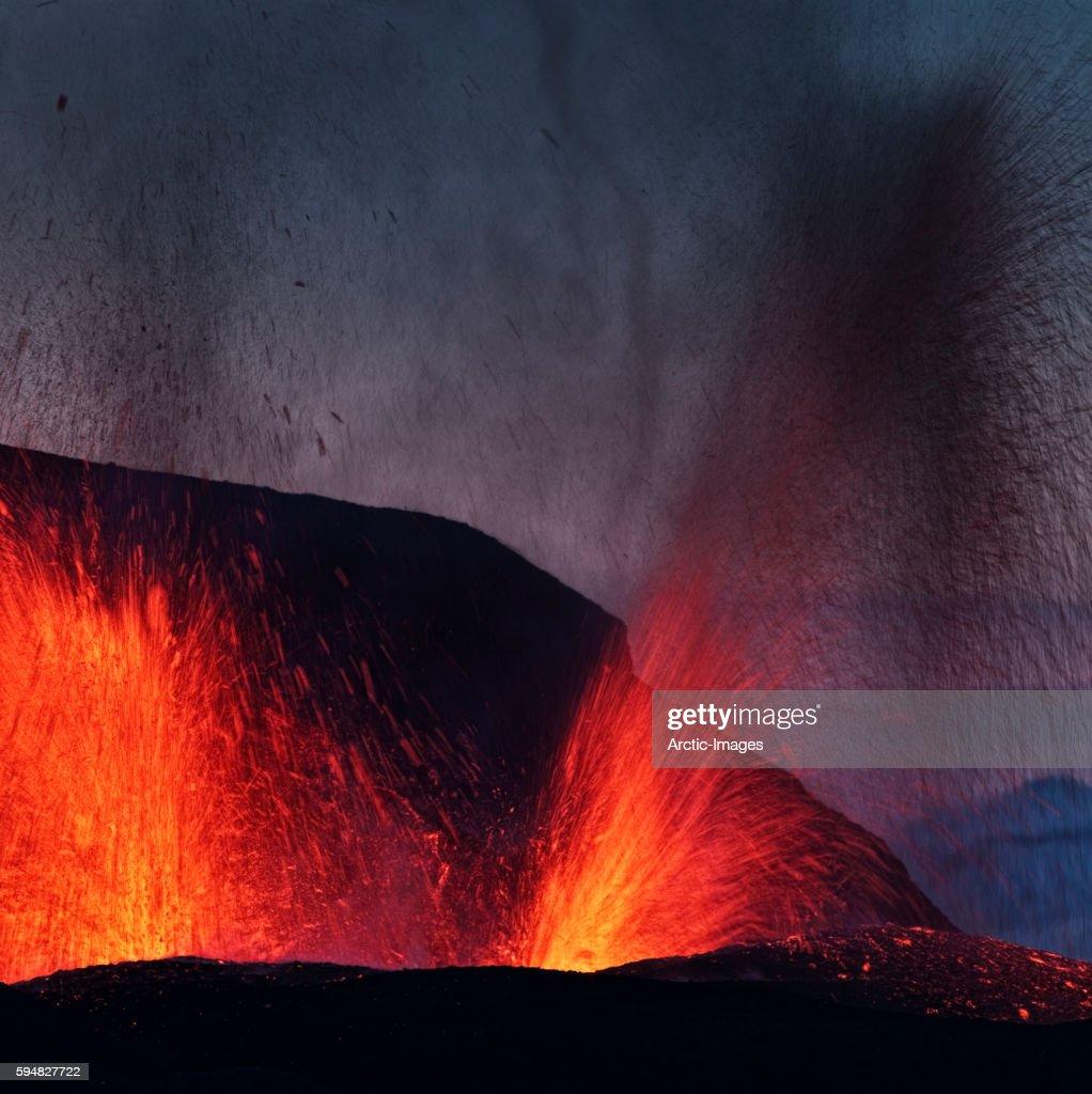 Lava erupting from Eyjafjallajokull
