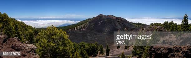 Lava field Malforado and crater of vocano Duraznero, Ruta de los Volcanes, Cumbre Vieja, La Palma, Spain