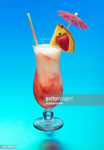 Lava Flow Cocktail on blue background