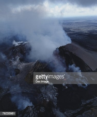 Lava flows cover a desolate landscape, Big Island, Hawaii : Stock Photo
