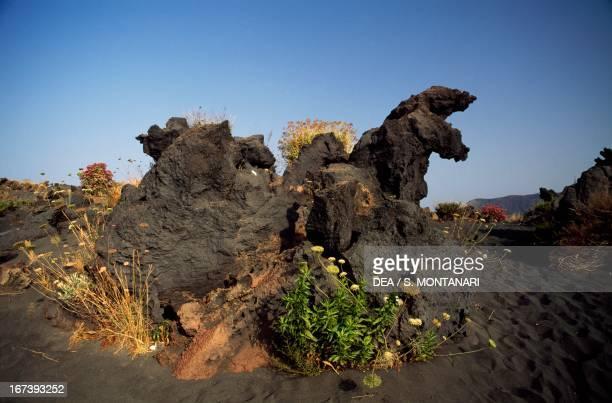 Lava formations Vulcanello Vulcano Aeolian Islands Sicily Italy