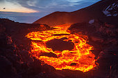 The lava lake of a volcanic eruption on Kamchatka
