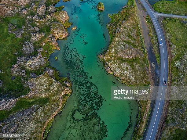Lava, water and road from above, Iceland