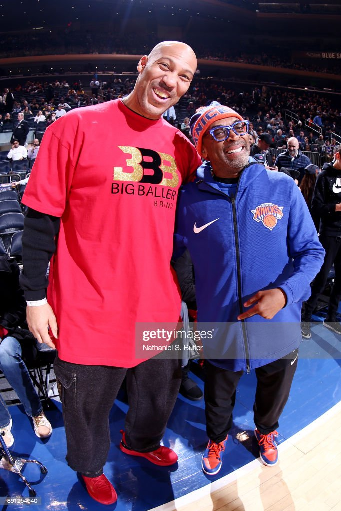 LaVar Ball and Director Spike Lee are seen at the game between the New York Knicks and Los Angeles Lakers on December 12, 2017 at Madison Square Garden in New York, New York.