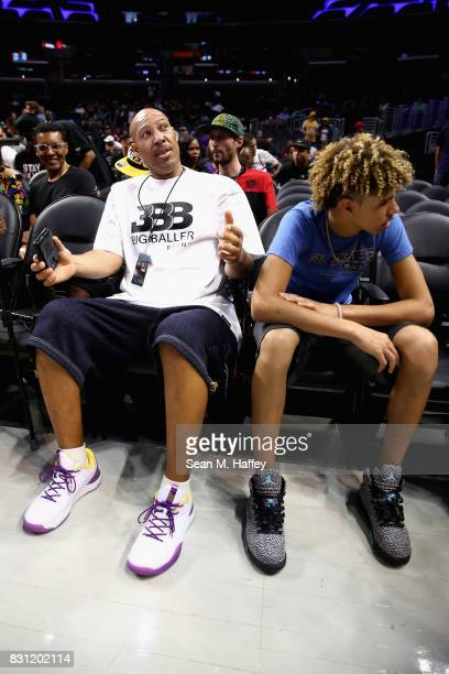 Lavar Ball and LaMelo Ball look on from the audience during week eight of the BIG3 three on three basketball league at Staples Center on August 13...