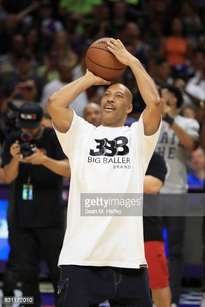 Lavar Ball competes in the Four Point Challenge against Ice Cube during week eight of the BIG3 three on three basketball league at Staples Center on...