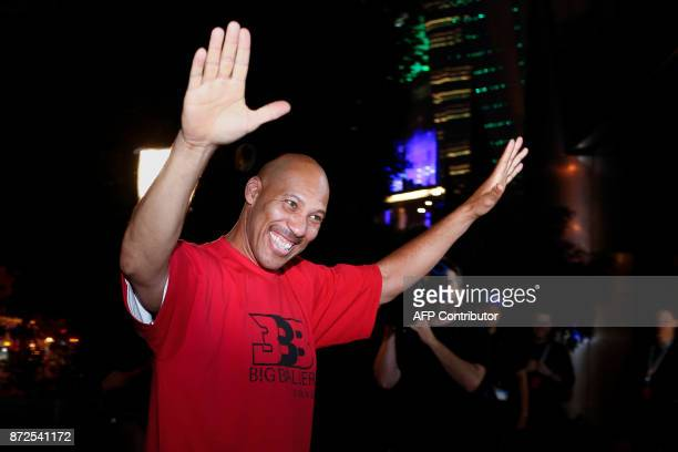 LaVar Ball father of LiAngelo Ball and the owner of the Big Baller brand waves during a promotional event in Shanghai on November 10 2017 LiAngelo...