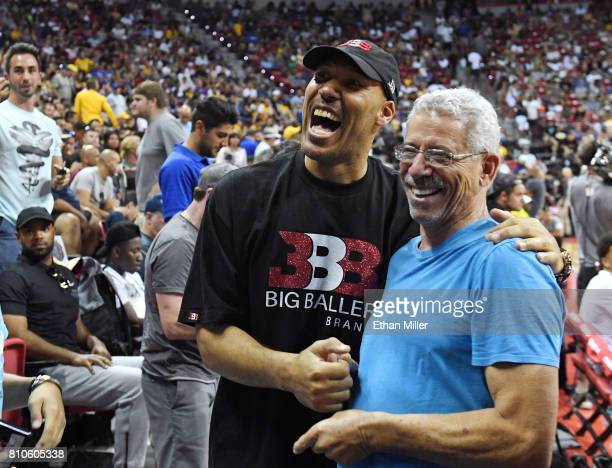 LaVar Ball father of Lonzo Ball of the Los Angeles Lakers greets people at halftime of a 2017 Summer League game between the Lakers and the Los...
