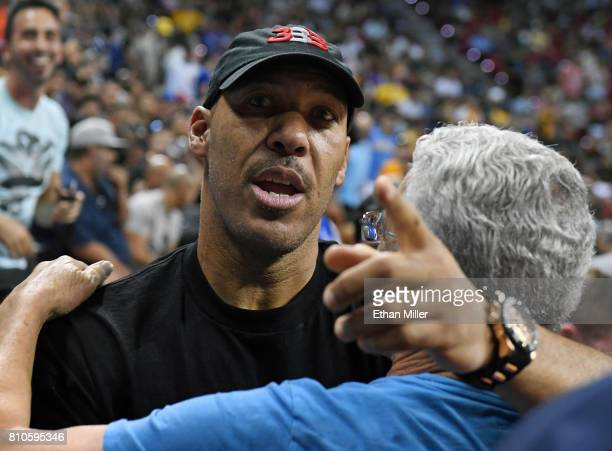 LaVar Ball father of Lonzo Ball of the Los Angeles Lakers is greeted at halftime of a 2017 Summer League game between the Lakers and the Los Angeles...