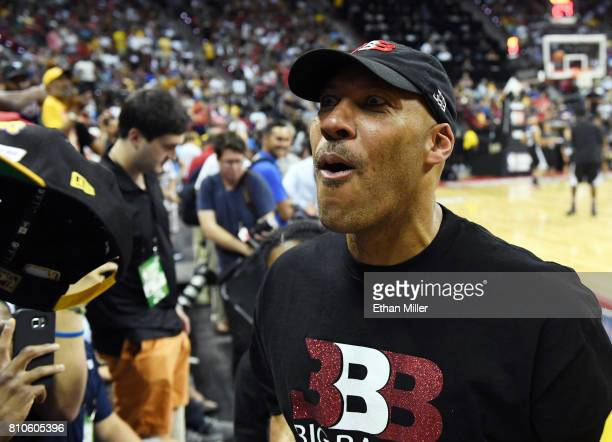 LaVar Ball father of Lonzo Ball of the Los Angeles Lakers jokes with fans at halftime of a 2017 Summer League game between the Lakers and the Los...