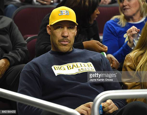 LaVar Ball father of Lonzo Ball of the UCLA Bruins watches the game against the USC Trojans at Galen Center on January 25 2017 in Los Angeles...