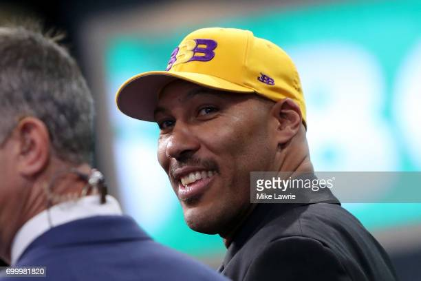 LaVar Ball father of second overall pick Lonzo Ball of the Los Angeles Lakers speaks to media during the first round of the 2017 NBA Draft at...