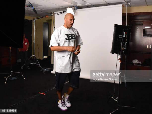 LaVar Ball films a TV at the BIG3 at Staples Center on August 13 2017 in Los Angeles California