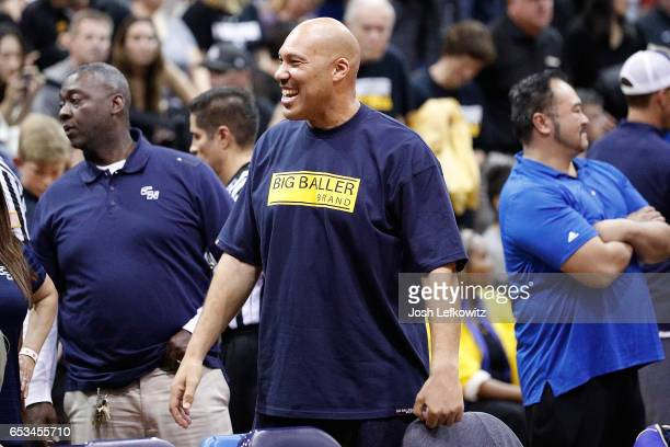 Lavar Ball is seen at the game between Chino Hills High School and Bishop Montgomery High School at El Camino College on March 14 2017 in Torrance...