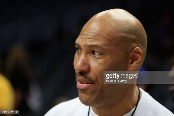 Lavar Ball looks on during week eight of the BIG3 three on three basketball league at Staples Center on August 13 2017 in Los Angeles California