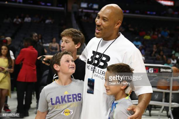 LaVar Ball poses with fans during week eight of the BIG3 three on three basketball league at Staples Center on August 13 2017 in Los Angeles...