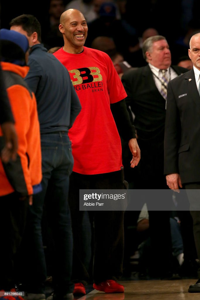 Lavar Ball reacts in overtime while the New York Knicks take on the Los Angeles Lakers during their game at Madison Square Garden on December 12, 2017 in New York City.