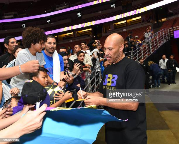 LaVar Ball signs autographs after the game between the Los Angeles Lakers and the Minnesota Timberwolves during the preseason game on September 30...