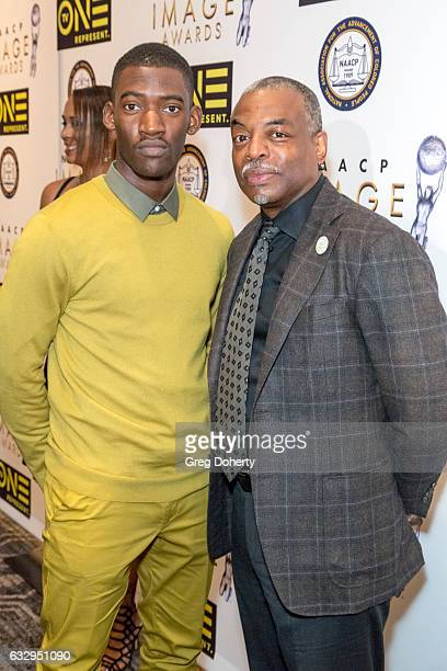 LaVar Burton and Malachi Kirby arrive at the 48th NAACP Image Awards Nominees' Luncheon at Loews Hollywood Hotel on January 28 2017 in Hollywood...
