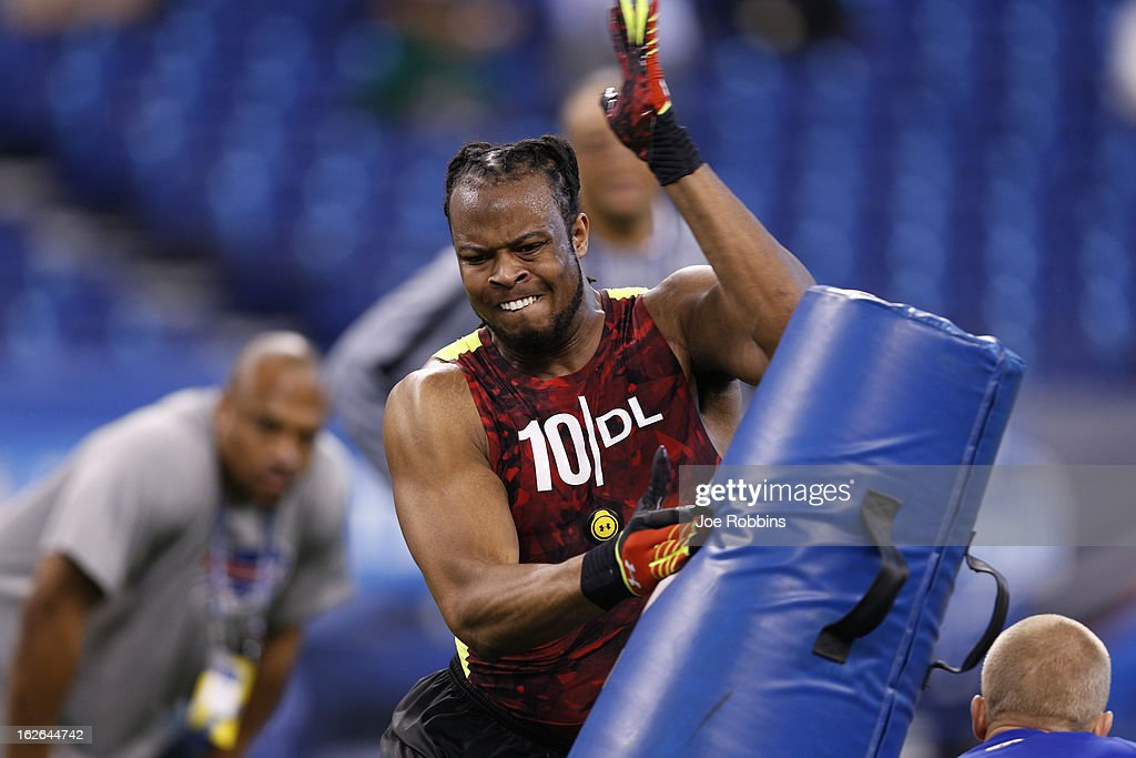 Lavar Edwards of LSU works out during the 2013 NFL Combine at Lucas Oil Stadium on February 25, 2013 in Indianapolis, Indiana.