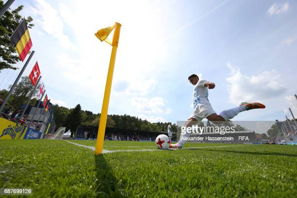 Lavdrim Rexhepi of FC Zurichtakes a corner during the match between Sport Lisboa e Benfica and FC Zürich on day one of the Blue Stars/FIFA Youth Cup...