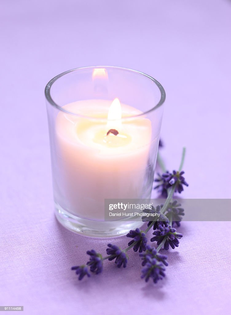 Lavender and candle : Stock Photo