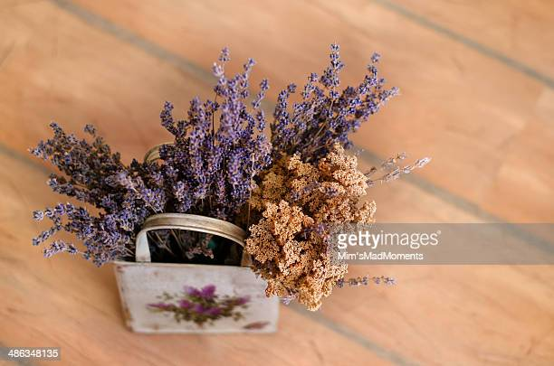 Lavender and dry flowers in a basket