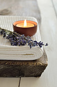 Spa setting with aroma lavender candle