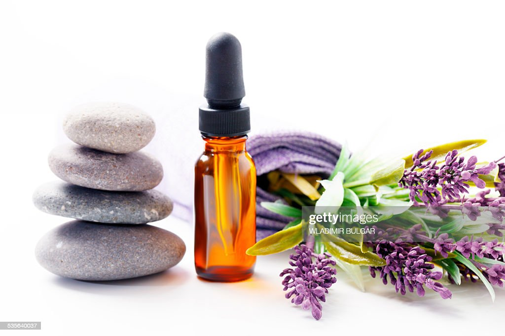 Lavender flowers and aromatherapy oil