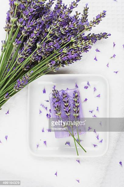 Lavender (Lavendula) on white towel, lavender soap on soap basket
