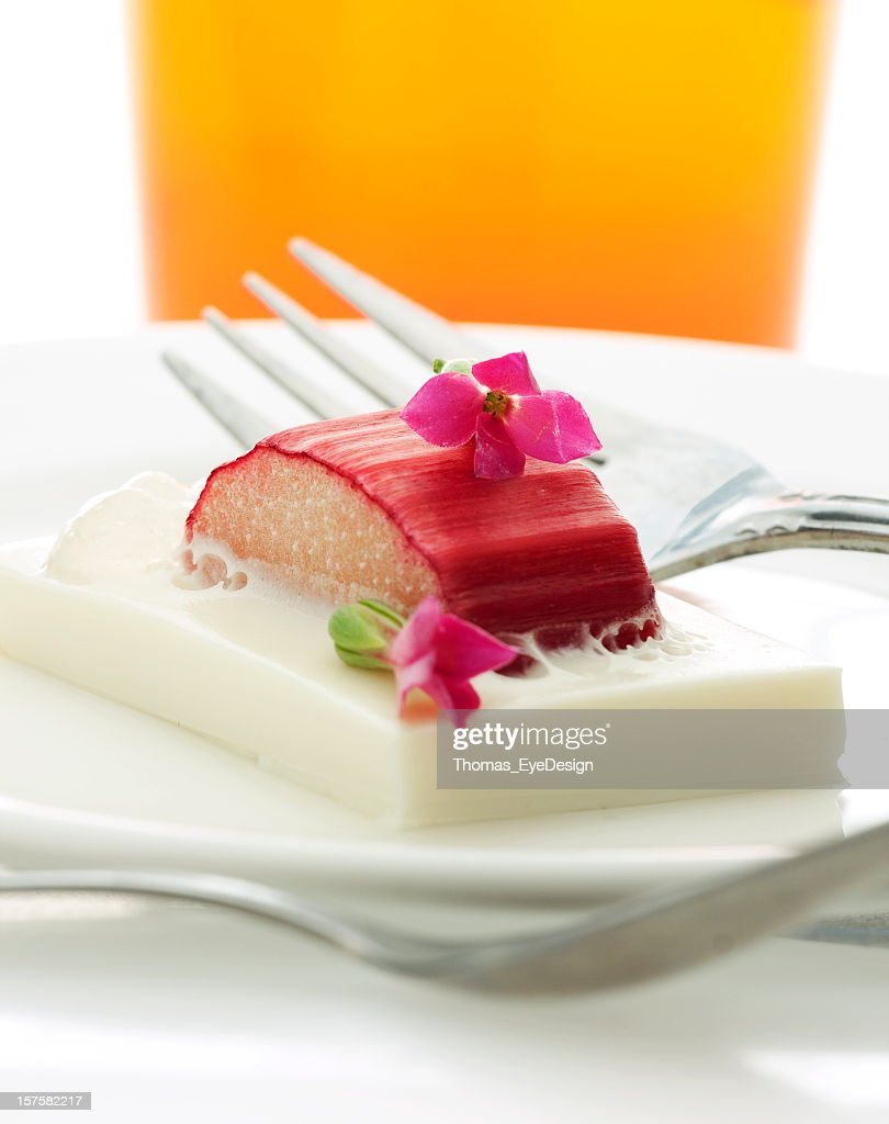 Lavender-Poached Rhubarb with Pudding and Custard