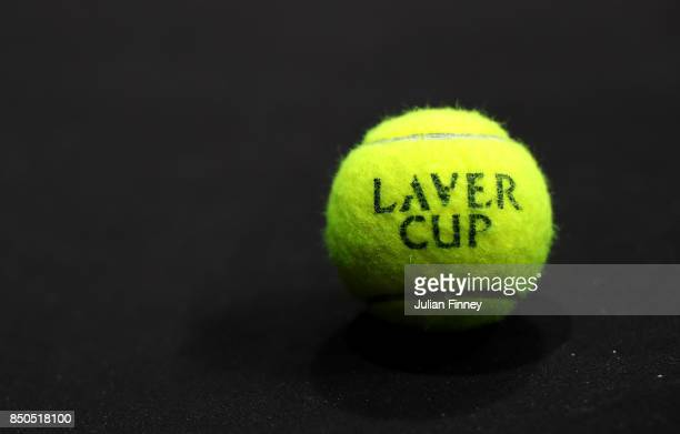 Laver Cup tennis ball during previews ahead of the Laver Cup on September 21 2017 in Prague Czech Republic The Laver Cup consists of six European...