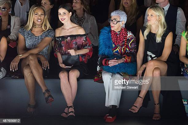 Laverne Cox a guest Iris Apfel and Karolina Kurkova attend the Desigual fashion show during Spring 2016 New York Fashion Week at The Arc Skylight at...