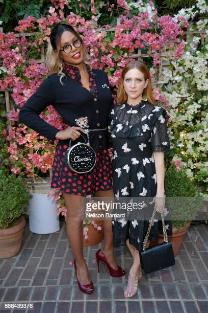 Laverne Cox and Brittany Snow attend CFDA/Vogue Fashion Fund Show and Tea at Chateau Marmont at Chateau Marmont on October 25 2017 in Los Angeles...