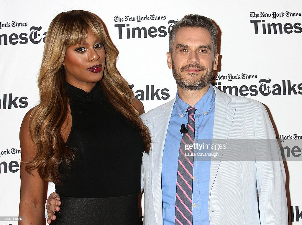 Laverne Cox and Eric Piepenburg attend Times Talks presents An Evening with Laverne Cox at Times Center on August 25, 2015 in New York City.