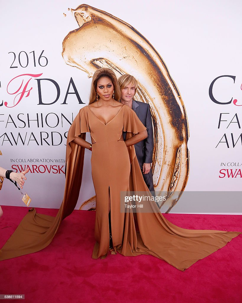 Laverne Cox and Marc Bouwer attend the 2016 CFDA Fashion Awards at the Hammerstein Ballroom on June 6 2016 in New York City