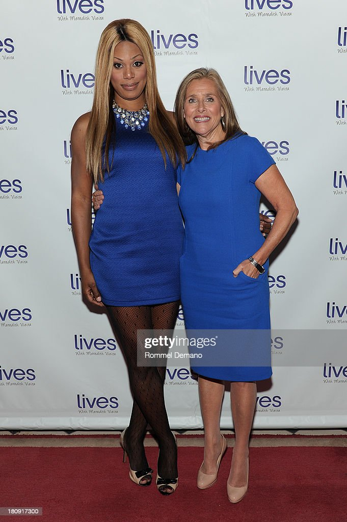 Laverne Cox and <a gi-track='captionPersonalityLinkClicked' href=/galleries/search?phrase=Meredith+Vieira&family=editorial&specificpeople=217718 ng-click='$event.stopPropagation()'>Meredith Vieira</a> attend the 'LIVES with <a gi-track='captionPersonalityLinkClicked' href=/galleries/search?phrase=Meredith+Vieira&family=editorial&specificpeople=217718 ng-click='$event.stopPropagation()'>Meredith Vieira</a>' Launch Party at Gramercy Park Hotel on September 17, 2013 in New York City.