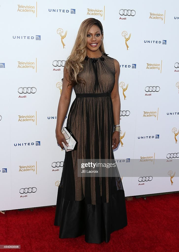 Laverne Cox arrives at the Television Academy's 66th Emmy Awards Performance Nominee Reception at the Pacific Design Center on Saturday, Aug. 23, 2014, in West Hollywood, California.