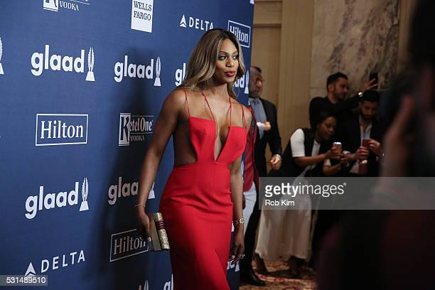 Laverne Cox arrives for the 27th Annual GLAAD Media Awards at The Waldorf=Astoria on May 14 2016 in New York City