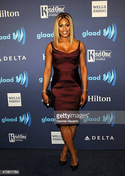 Laverne Cox attends the 26th Annual GLAAD Media Awards at The Waldorf Astoria on May 9 2015 in New York City