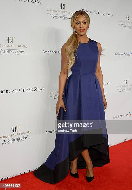 Laverne Cox attends the American Ballet Theatre's 75th Anniversary Gala at David H Koch Theater Lincoln Center on October 21 2015 in New York City