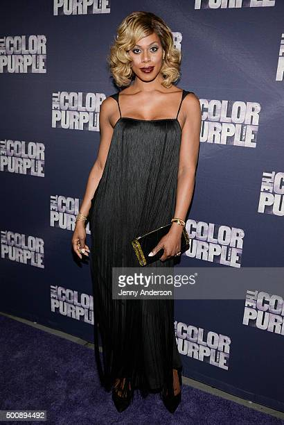 Laverne Cox attends 'The Color Purple' Broadway opening night at the Bernard B Jacobs Theatre on December 10 2015 in New York City