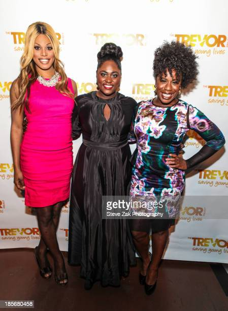 Laverne Cox Danielle Brooks Uzo Aduba attend the Trevor NextGen 4th Annual Fall Fete at The Angel Orensanz Foundation on October 23 2013 in New York...