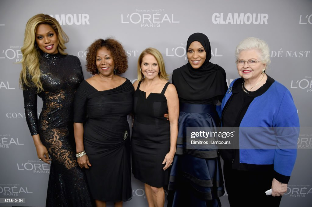 Laverne Cox, Ruby Bridges, Katie Couric, Ibtihaj Muhammad and Sarah Weddington pose backstage at Glamour's 2017 Women of The Year Awards at Kings Theatre on November 13, 2017 in Brooklyn, New York.