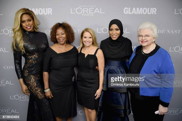 Laverne Cox Ruby Bridges Katie Couric Ibtihaj Muhammad and Sarah Weddington pose backstage at Glamour's 2017 Women of The Year Awards at Kings...