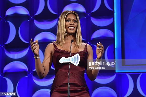 Laverne Cox speaks on stage at 26th Annual GLAAD Media Awards In New York on May 9 2015 in New York City