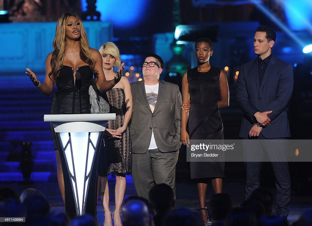 <a gi-track='captionPersonalityLinkClicked' href=/galleries/search?phrase=Laverne+Cox&family=editorial&specificpeople=5848606 ng-click='$event.stopPropagation()'>Laverne Cox</a>, <a gi-track='captionPersonalityLinkClicked' href=/galleries/search?phrase=Taryn+Manning&family=editorial&specificpeople=202146 ng-click='$event.stopPropagation()'>Taryn Manning</a>, <a gi-track='captionPersonalityLinkClicked' href=/galleries/search?phrase=Lea+DeLaria&family=editorial&specificpeople=2534492 ng-click='$event.stopPropagation()'>Lea DeLaria</a>, <a gi-track='captionPersonalityLinkClicked' href=/galleries/search?phrase=Samira+Wiley&family=editorial&specificpeople=10947919 ng-click='$event.stopPropagation()'>Samira Wiley</a> and <a gi-track='captionPersonalityLinkClicked' href=/galleries/search?phrase=Matt+McGorry&family=editorial&specificpeople=11068336 ng-click='$event.stopPropagation()'>Matt McGorry</a> speak onstage during Logo TV's 'Trailblazers' at the Cathedral of St. John the Divine on June 23, 2014 in New York City.