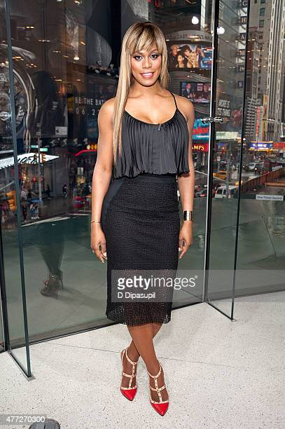 Laverne Cox visits 'Extra' at their New York studios at HM in Times Square on June 15 2015 in New York City