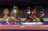 Laverne JonesFerrette of Virgin Islands US competes in the Women's 200m Semifinals on Day 11 of the London 2012 Olympic Games at Olympic Stadium on...