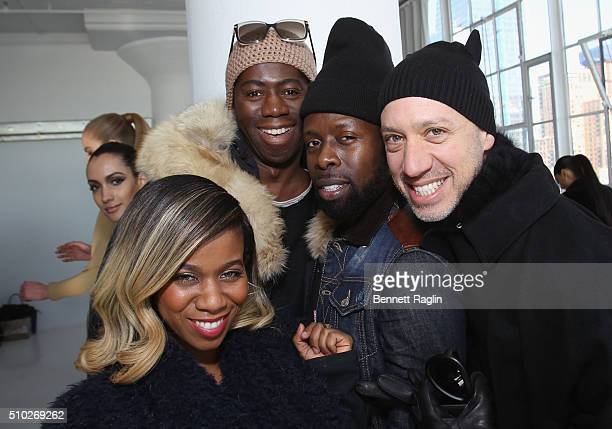 Lavette Slater Miss J Alexander Memsor Kamarake and Robert Verdi pose during SheaMoisture at Laquan Smith F/W 2016 NYFW at Jack Studios on February...
